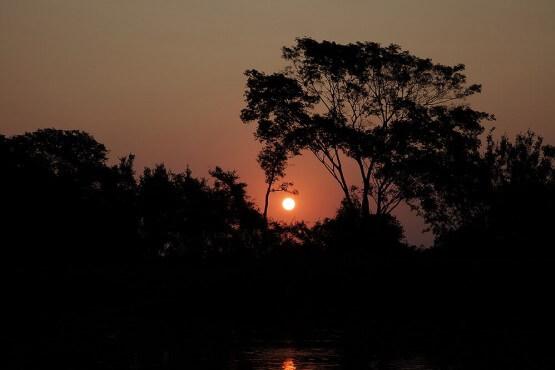 Atardecer en el rio Tres Irmaos - Pantanal